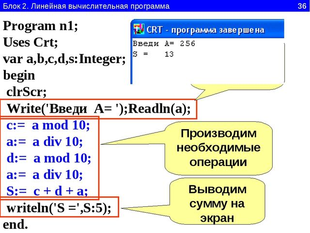 Блок 2. Линейная вычислительная программа 36 Program n1; Uses Crt; var a,b,c,...
