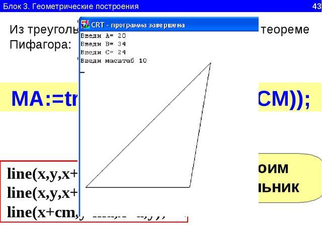 Блок 3. Геометрические построения 43 Из треугольника CMA, прямоугольного, по...