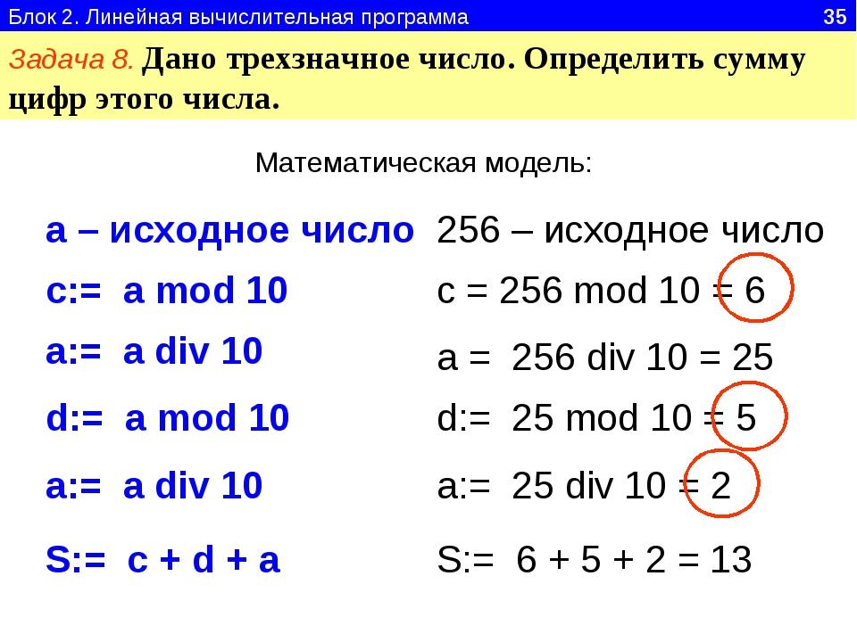 Блок 2. Линейная вычислительная программа 35 Задача 8. Дано трехзначное число...