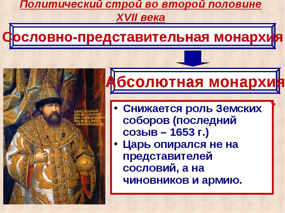 Политический строй во второй половине XVII века Сословно-представительная мон...