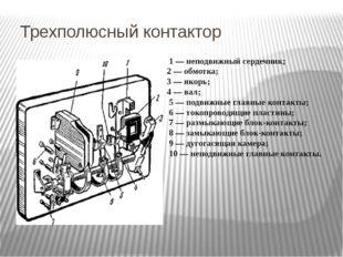 Трехполюсный контактор 1 — неподвижный сердечник; 2 — обмотка; 3 — якорь; 4 —