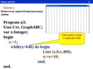Пример 3. Вывести на экран 64 вертикальные линии. Program n3; Uses Crt, Graph