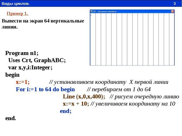 Program n1;  Uses Crt, GraphABC;  var x,y,i:Integer; begin  x:=1;...