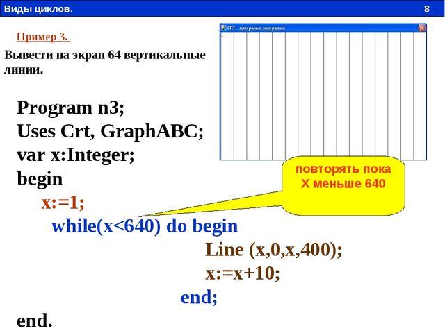 Пример 3. Вывести на экран 64 вертикальные линии. Program n3; Uses Crt, Graph...