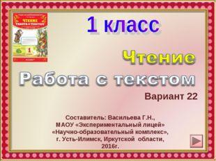 Вариант 22 Составитель: Васильева Г.Н., МАОУ «Экспериментальный лицей» «Научн