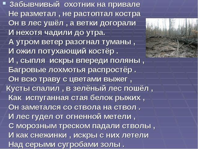 Забывчивый охотник на привале Не разметал , не растоптал костра Он в лес ушёл...