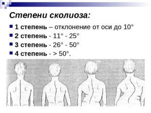 Степени сколиоза: 1 степень – отклонение от оси до 10° 2 степень - 11° - 25°