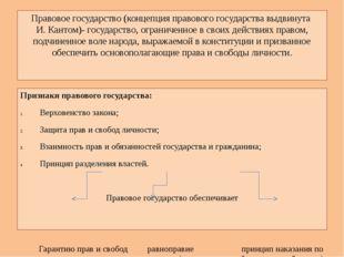 Правовое государство (концепция правового государства выдвинута И. Кантом)- г