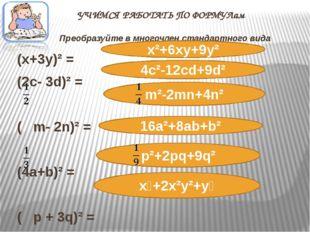 УЧИМСЯ РАБОТАТЬ ПО ФОРМУЛам Преобразуйте в многочлен стандартного вида (х+3у)