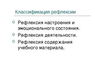 Классификация рефлексии Рефлексия настроения и эмоционального состояния. Рефл