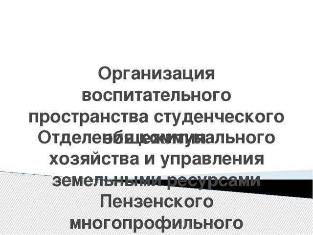 Организация воспитательного пространства студенческого общежития Отделения ко...