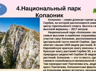 4.Национальный парк Копаоник Копаоник – самая длинная горная цепь Сербии, на