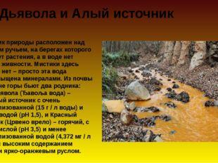 Вода Дьявола и Алый источник Памятник природы расположен над мертвым ручьем,