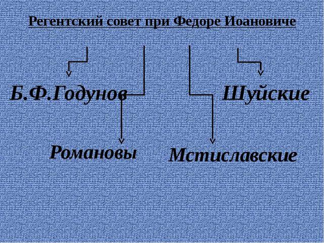 Регентский совет при Федоре Иоановиче Шуйские Мстиславские Романовы Б.Ф.Годунов