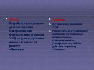 Цель: Разработка контрольно-диагностических материалов для формирования и оце