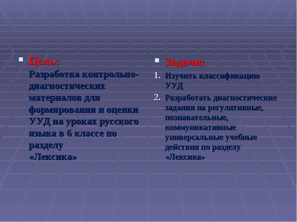 Цель: Разработка контрольно-диагностических материалов для формирования и оце...
