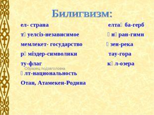 ел- страна елтаңба-герб тәуелсіз-независимое әнұран-гимн мемлекет- государств