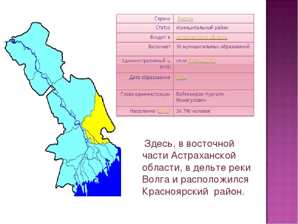 Здесь, в восточной части Астраханской области, в дельте реки Волга и располо...