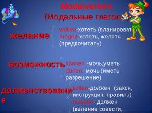Modalverben (Модальные глаголы) желание возможность долженствование können -