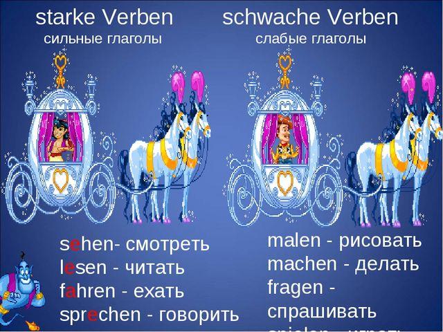 starke Verben сильные глаголы schwache Verben слабые глаголы sehen- смотреть...