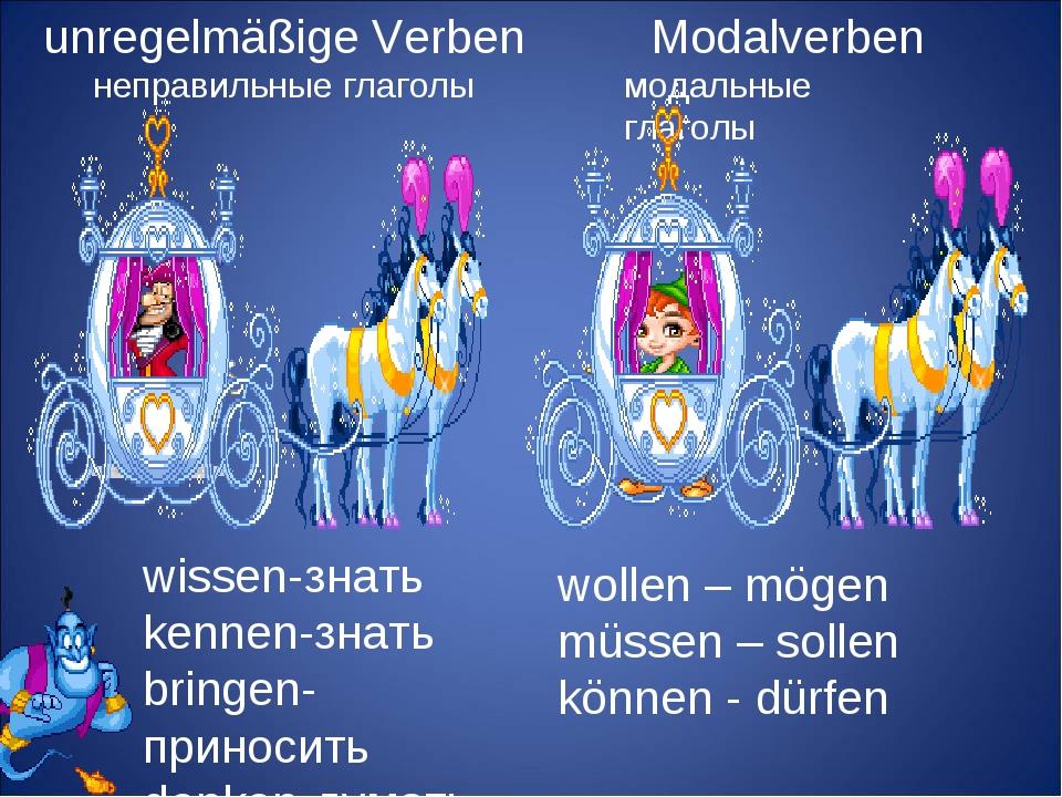 Modalverben модальные глаголы unregelmäßige Verben неправильные глаголы wiss...