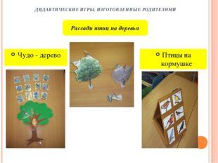 ДИДАКТИЧЕСКИЕ ИГРЫ, ИЗГОТОВЛЕННЫЕ РОДИТЕЛЯМИ Чудо - дерево Птицы на кормушке