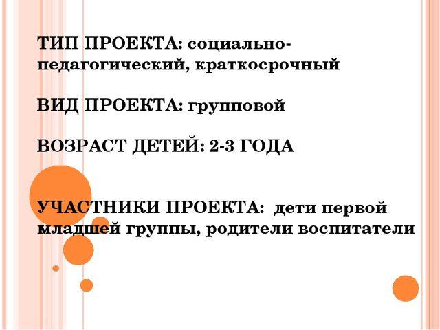 ТИП ПРОЕКТА: социально-педагогический, краткосрочный ВИД ПРОЕКТА: групповой В...