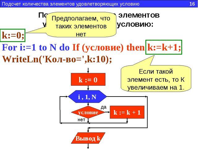 Подсчет количества элементов удовлетворяющих условию: k:=0; For i:=1 to N do...
