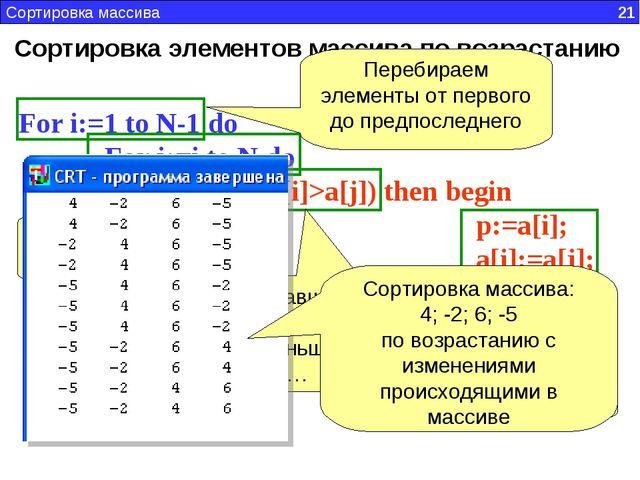 Сортировка элементов массива по возрастанию For i:=1 to N-1 do For j:=i to N...