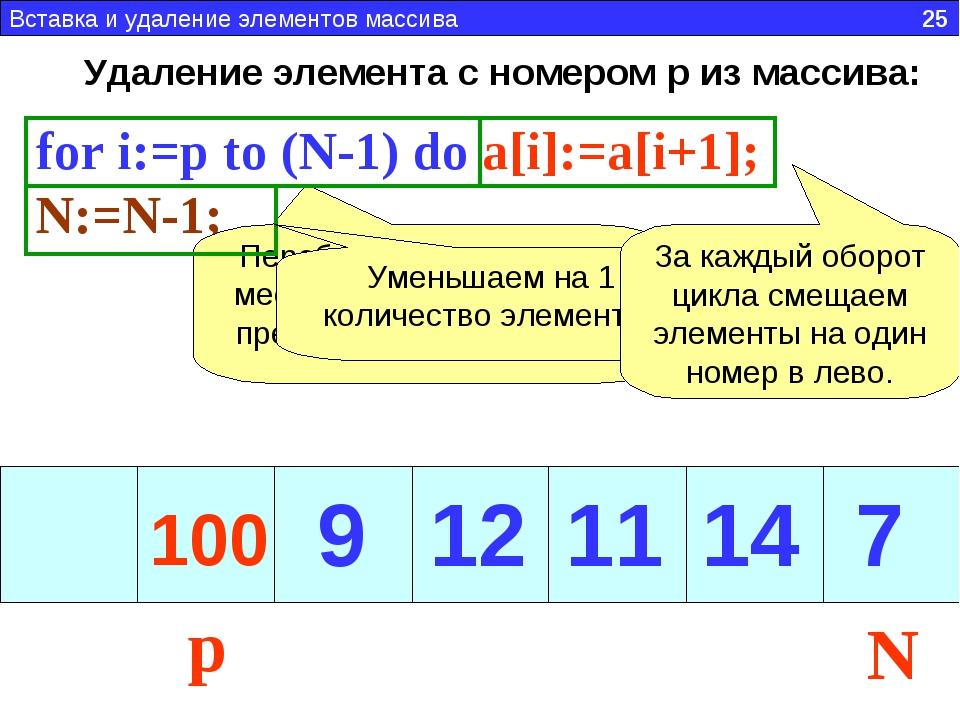Удаление элемента с номером p из массива: for i:=p to (N-1) do a[i]:=a[i+1];...