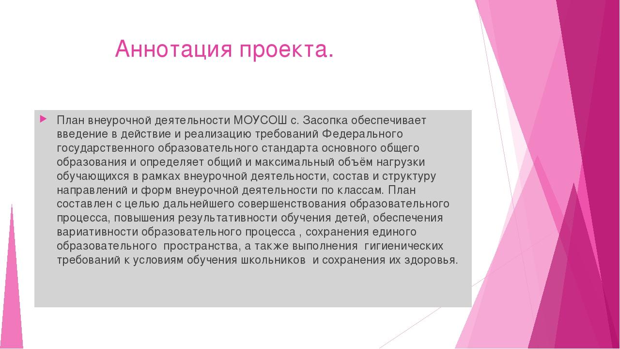 Аннотация проекта. План внеурочной деятельности МОУСОШ с. Засопка обеспечива...