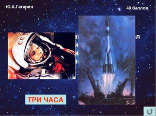 Ю.А.Гагарин 40 баллов Как долго Юрий Гагарин ожидал старта в кабине космонавт