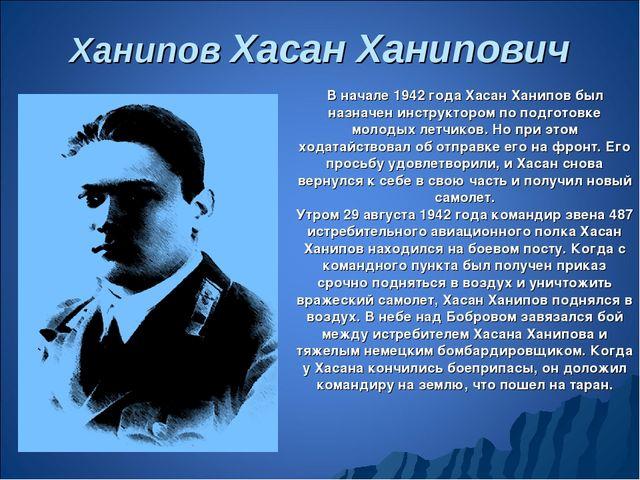 Ханипов Хасан Ханипович В начале 1942 года Хасан Ханипов был назначен инструк...