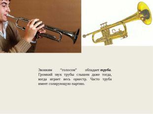 """Звонким """"голосом"""" обладаеттруба. Громкий звук трубы слышен даже тогда, когда"""