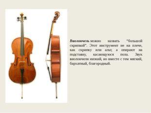 """Виолончельможно назвать """"большой скрипкой"""". Этот инструмент не на плече, как"""