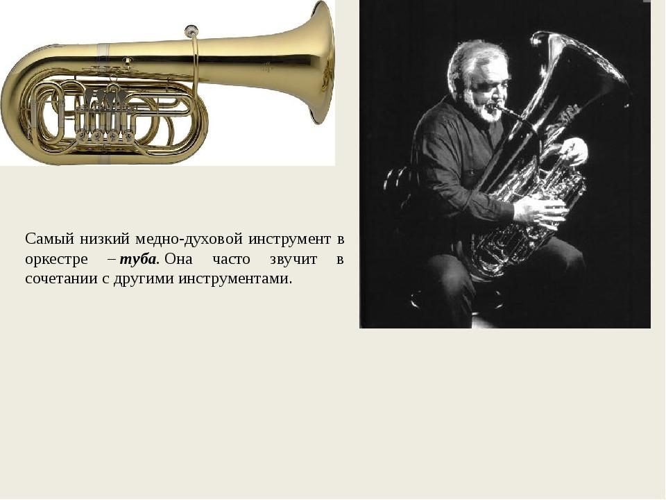Самый низкий медно-духовой инструмент в оркестре –туба.Она часто звучит в с...