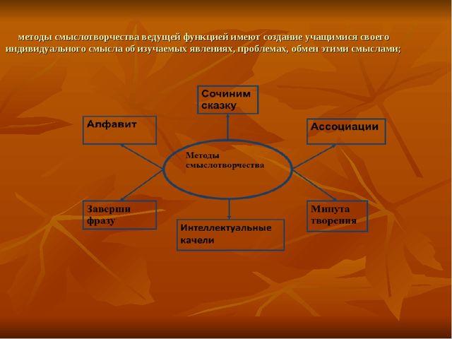 методы смыслотворчества ведущей функцией имеют создание учащимися своего инди...