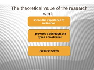 The theoretical value of the research work : shows the importance of motivati