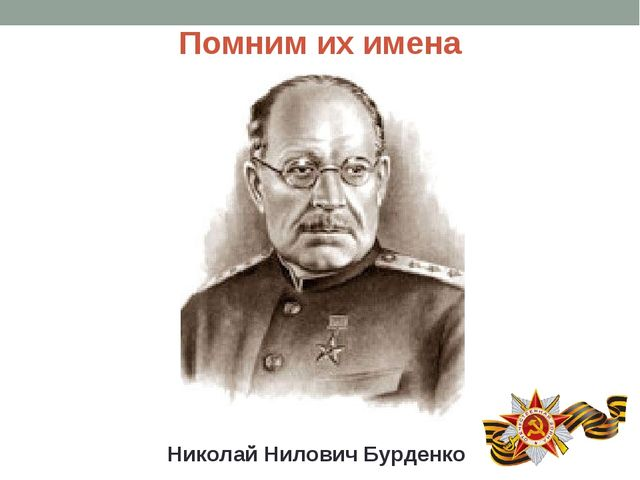 Помним их имена Николай Нилович Бурденко