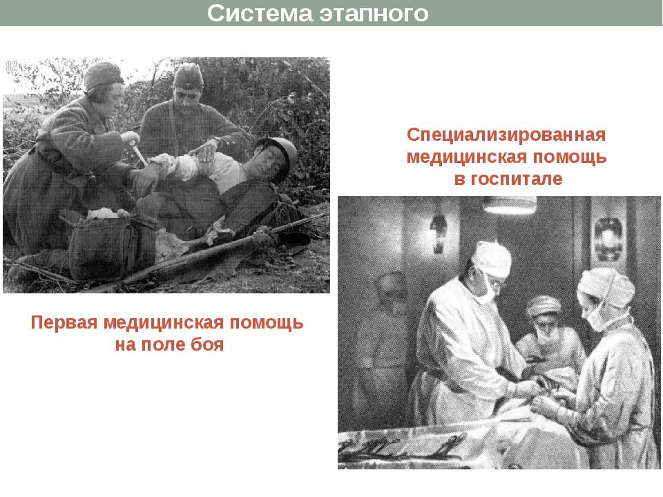 Первая медицинская помощь на поле боя Специализированная медицинская помощь в...