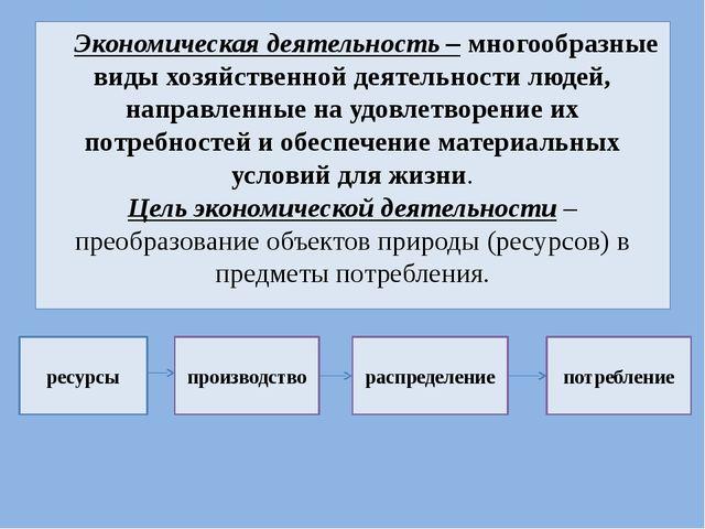 Экономическая деятельность – многообразные виды хозяйственной деятельности лю...