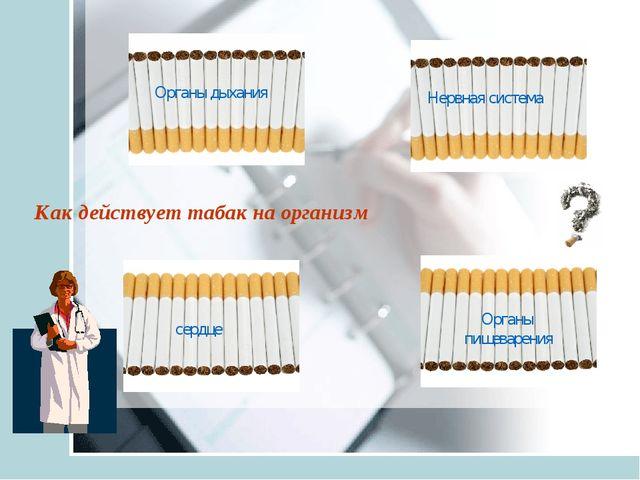 Как действует табак на организм Органы дыхания Нервная система сердце Органы...