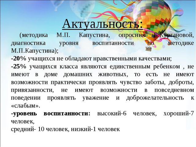Актуальность: (методика М.П. Капустина, опросник Е.Кургановой, диагностика ур...