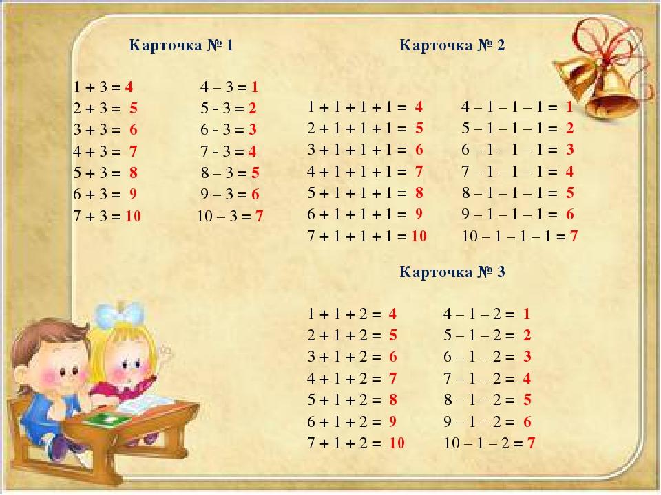 Карточка № 1  1 + 3 = 4 4 – 3 = 1 2 + 3 = 5 5 - 3 = 2 3 + 3 = 6 6 - 3 = 3 4...