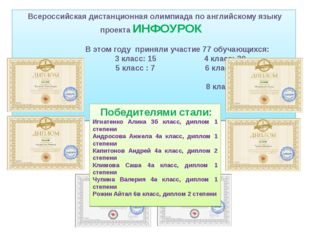 Всероссийская дистанционная олимпиада по английскому языку проекта ИНФОУРОК