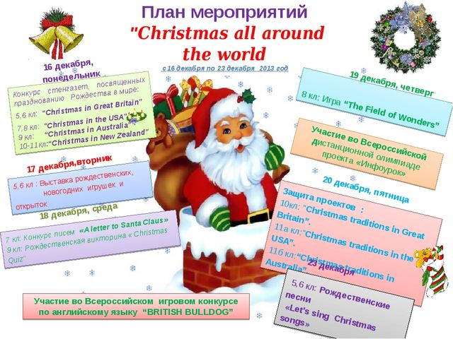 "План мероприятий ""Christmas all around the world c16 декабря по 23 декабря 20..."