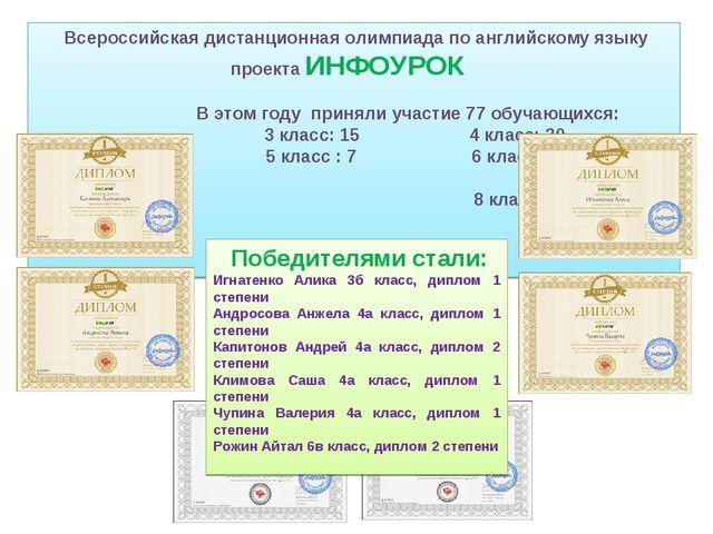 Всероссийская дистанционная олимпиада по английскому языку проекта ИНФОУРОК...