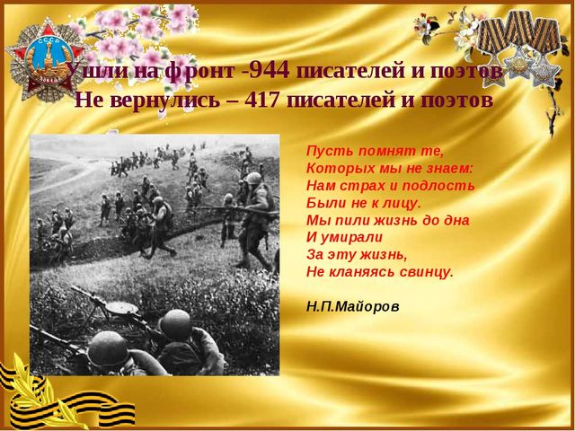 Ушли на фронт -944 писателей и поэтов Не вернулись – 417 писателей и поэтов П...