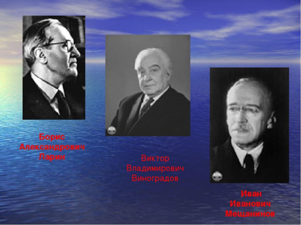 Борис Александрович Ларин Виктор Владимирович Виноградов Иван Иванович Мещани...
