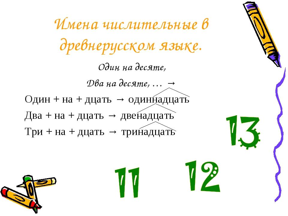 Имена числительные в древнерусском языке. Один на десяте, Два на десяте, … →...